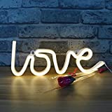DELICORE Decorative LED Love Shaped Neon Night Light with Warm White Lamp-Neon Night Light Operated by Battery/USB for Children's Room Party Christmas Wedding Decoration