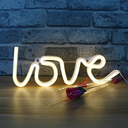 DELICORE Decorative LED Love Shaped Neon Night Light With Warm White Lamp-Neon Night Light Operated By Battery/USB for Children's room Party Christmas Wedding Decoration by DELICORE