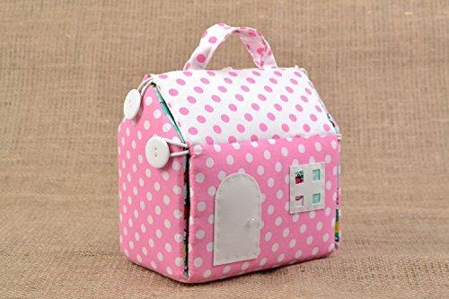 Handmade Polka Dot Cotton Fabric Handbag In The Shape Of House For Children