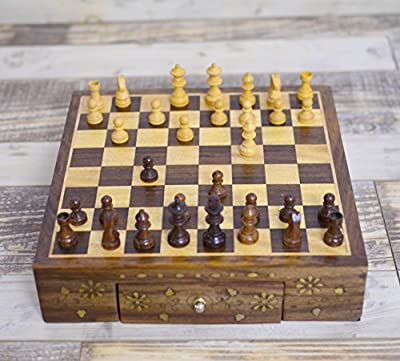 Rusticity Wood Chess Set / Chess Box with Chess Pieces, 2 Drawers| Handmade | (10 x 10 x 2.4 inch)