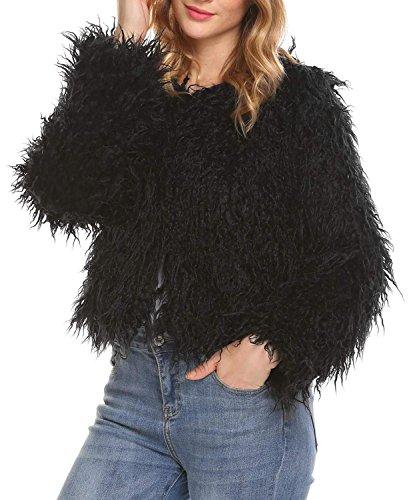 Dethler Women Winter Warm Faux Fur Long Sleeve Crop Coat Jacket Faux Fur Cropped