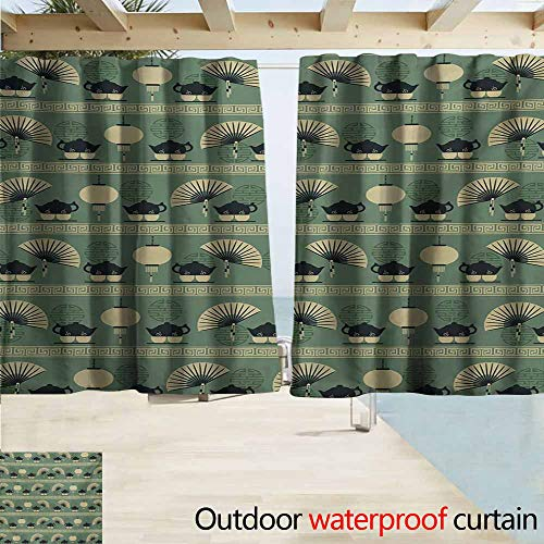 - AndyTours Outdoor Patio Curtains,Tea Party Chinese Culture Inspired Tea Time Lantern Teapot and Fan Oriental,Outdoor Privacy Porch Curtains,W72x45L Inches,Reseda Green Black Cream