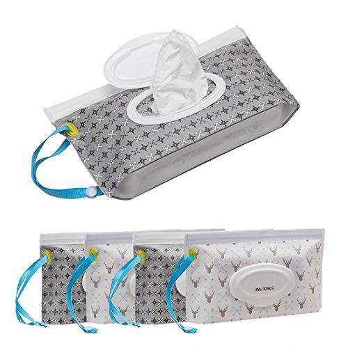 Ava & Kings 4pc Baby Wipe Clutch Carrying Case in Pixel Pattern & Deer Pattern
