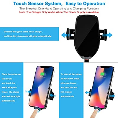 Wireless Car Charger Mount,10W Auto-Clamping Fast Qi Wireless Charging Air Vent Phone Holder,Compatible/w iPhone 11 Series/Xs MAX/XS/XR/X/8/8p,Samsung S10/S10+/S9/S9+/S8/S8+ and More