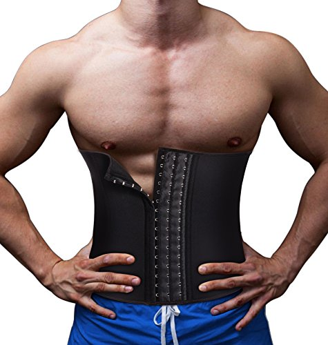 Control Corset (TAILONG Neoprene Wrap Hot Sweat 9 Steel Bone Waist Trainer Corset Men Tummy Control Trimmer Belt Body Shaper (Black, XL))