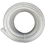 "2"" x 25' HydroMaxx® Clear Flexible PVC Suction and Discharge Hose with White Reinforced Helix"