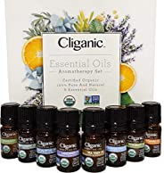 Cliganic USDA Organic Aromatherapy Essential Oils Set (Top 8), 100% Pure Natural - Peppermint, Lavender, Eucal