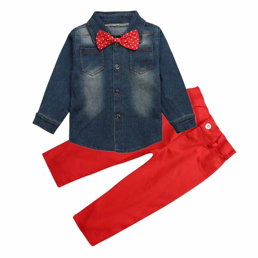 Toddler Boy's Clothes Demin Long Sleeve Handsome Bow Tie Shirt+Red Pants Sets Mary ye