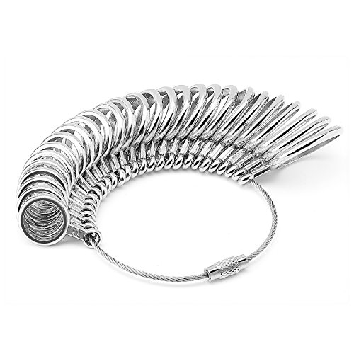 UPC 814870029340, Flexzion Ring Sizer Finger Sizing Measuring Jewelry Accurate Tool Stainless Iron Metal Size US 0-13 with Gauge Set of 27 pcs Circle Models in Silver