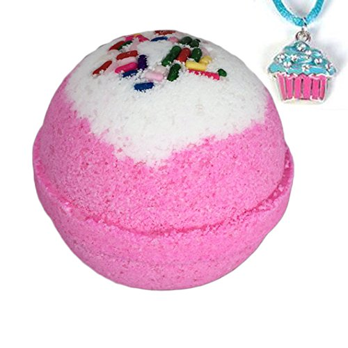 Birthday Bling BUBBLE Bath Bomb with Surprise Kids Cupcake Necklace Inside - in Gift Box - By Two Sisters Spa - Homemade by Moms in the USA - Birthday Cupcake Bath Bomb