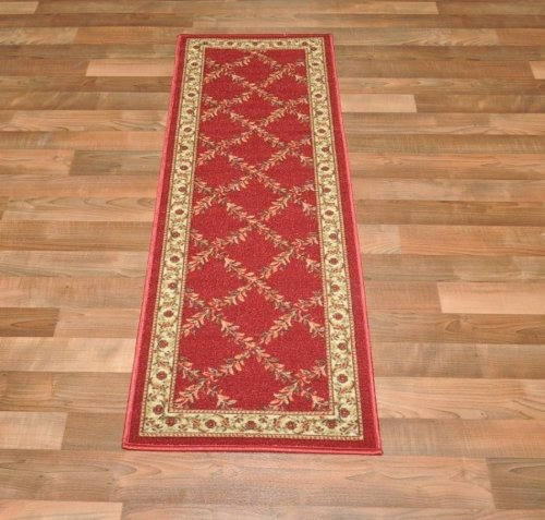 New Trellis Red Floral Design Rubber Backed Non Slip