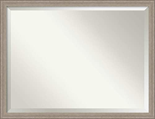 Amanti Art Framed Mirrors for Wall Curve Greywash Mirror for Wall Solid Wood Wall Mirrors X-Large Wall Mirror 43.00 x 33.00 in.