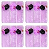 MSD Square Coasters Non-Slip Natural Rubber Desk Coasters design 35140090 Composition with beautiful blooming orchids and spa stones on color wooden background