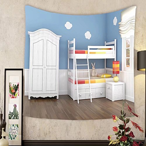Evelyn C. Connor Custom?tapestry children s bedroom in blue walls with bunk bed and - Kurt Wardrobe Cobain
