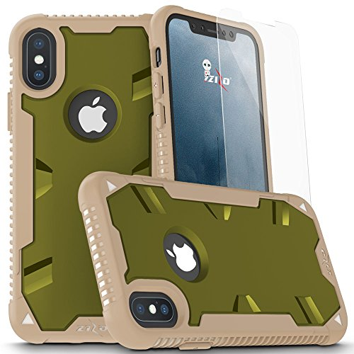- Zizo Proton 2.0 Series Compatible with iPhone X Case Military Grade Drop Tested with Tempered Glass Screen Protector iPhone Xs Case Desert CAMO Green