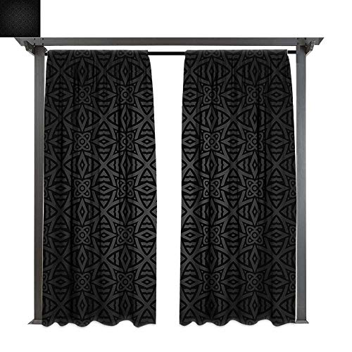 (Dark Grey, Indoor/Outdoor Single Panel print Window Curtain, Medieval Folkloric Ornament Celtic Pattern Vintage Style Abstract Floral Circles, Keep Warm Draperies (W96 x L84 Inches Black)