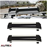 AUTEX 30'' Aluminum Universal Ski Snowboard Carrier Rack Roof Mounted Compatible with Most Vehicles Equipped with Cross Bars (Pack of 2)