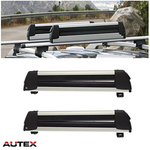 (AUTEX 30'' Aluminum Universal Ski Rack Snowboard Rack Rooftop Mounted Carrier for Most Vehicles Equipped with Cross Bars Snow Rack)