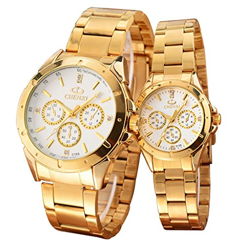 Anniversary Gifts for Couple, Gold Stainless Steel His and Hers Watches