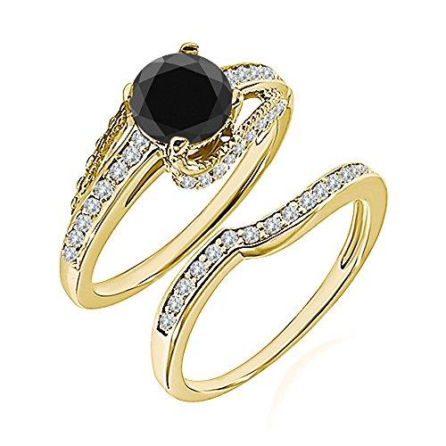 0.99 Carat Black AAA Diamond Engagement Wedding Anniversary Halo Bridal Ring Set 14K Yellow Gold ()