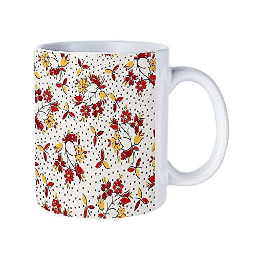 (DKISEE Abstract Wreath Floral Coffee Mug Novelty 11oz White Ceramic Mug Birthday Christmas Anniversary Gag Gifts Idea)