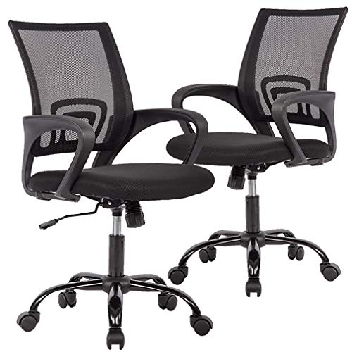 2PC Ergonomic Mesh Office Desk Midback Task Chair w Metal Base