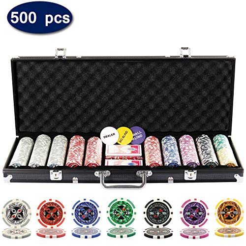 (Display4top 500 Piece Texas Holdem Poker Chips Set with Aluminum Case,2 Decks of Cards, Dealer, Small Blind, Big Blind Buttons and 5 Dice (500 Poker Chips Case))