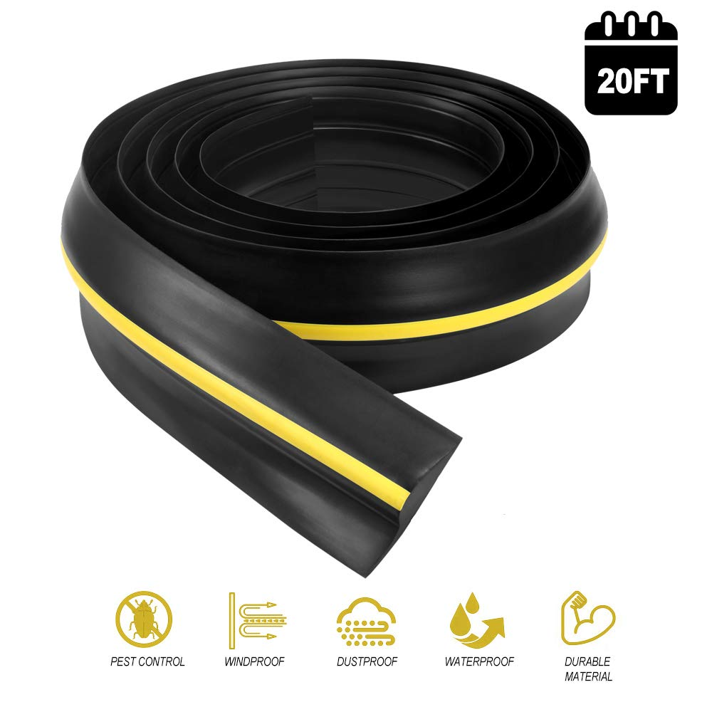 Garage Door Seals Bottom Rubber - 20 Ft Universal Heavy Duty Floor Threshold Buffer Flexible Weather Stripping Draught Excluder Insulation Kit - Easy Installation(Not Include Adhesive) by PICK FOR LIFE