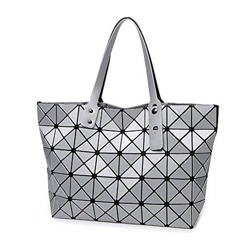 Find-me Geometry Handbag New Autumn and Winter Women Matt Brushed Japanese Quilted Cube Package(Silver£