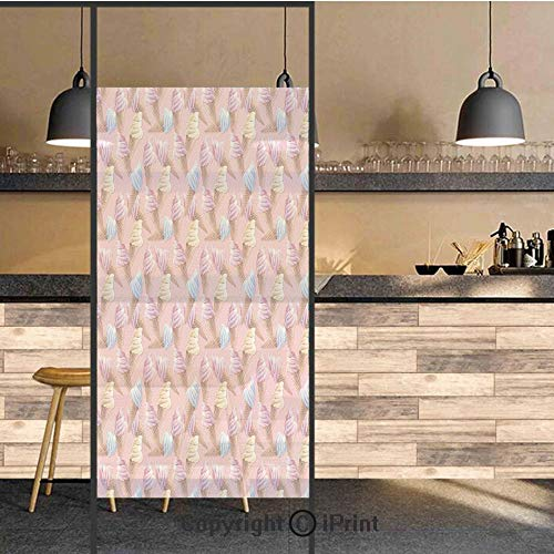 3D Decorative Privacy Window Films,Dessert ICY Cones in Watercolor Summer Season Image,No-Glue Self Static Cling Glass Film for Home Bedroom Bathroom Kitchen Office 24x48 Inch