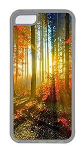 iPhone 5C Case, iPhone 5C Cases - landscapes nature sunlight trees 77 Polycarbonate Hard Case Back Cover for iPhone 5C¨C Transparent