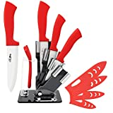BeautyWill Ceramic Knife Set with Holder, 6 Piece