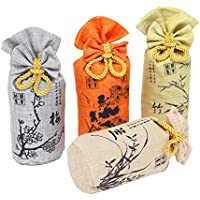 Pack of 4 Natural Bamboo Charcoal Moisture Absorber Air Purifier Freshener and Deodorizer Bags 1000g for Home,Kitchen,Car and Refrigerator