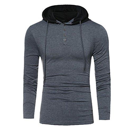 Longay Men's Plus Size Hoodie Men Long Sleeve Printing Coat Jacket Outwear Sport Tops (XL, Dark Gray)