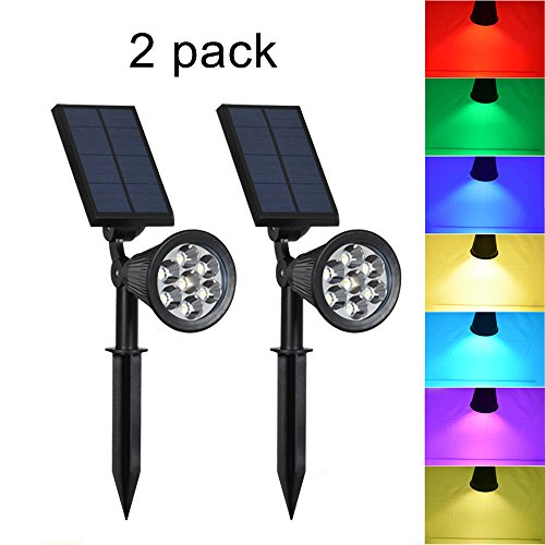 Solar Lights Outdoor - Waterproof 7 LED Changing Color Solar Spotlight Adjustable Wall Light Landscape Light Bright & Dark Sensing Auto On/Off Solar Garden Light for the Yard Patio Deck Stair Pool (2) (Lights Deck Accent Solar)