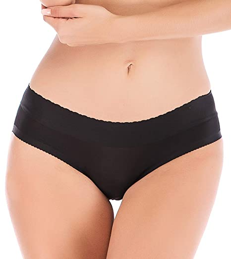 65028ea98ff DODOING Ladies Seamless Panty Push up Buttock Hip Pads Panties Underwear  Black