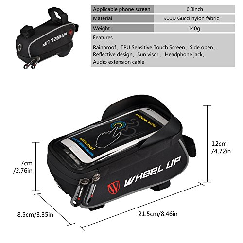 "Bike Bag, 6.0 ""Touch Screen Portable Road Mountain Bicycle Panniers Cell Phone Holder For Outdoor Cycling"