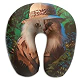 CRSJBB219 Cute Funny Cat Animal Art Print Portable Neck Pillow U Shaped Airplane Travel Pillow for Neck and Head Support