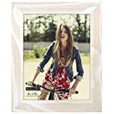 Malden Rustic Fashion Wide Linear Wooden Picture Frame, 8-Inch X 10-Inch, White