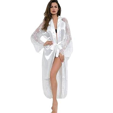 7530ef475d5fc LIN Femmes Liquidation Mode Couleur Pure Délicat Satin Longue Chemise de Nuit  Dentelle de