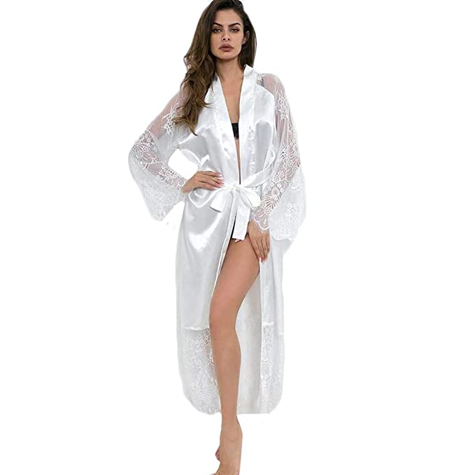 1a3802c99f92 Amlaiworld Mujeres Sexy Encaje de Seda satén Kimono Dormir Batas y Kimonos  de Mujer Albornoz Lencería
