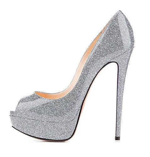 Peep Open Femme 15cm Toe 3cm Argent Escarpins Chaussures Talon Elashe Plateforme w61qO41