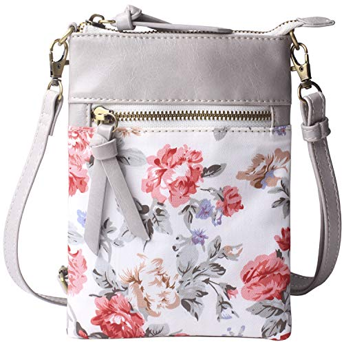Bag Small Body Cross - Women Crossbody Bag Original Small Cell Phone Purse Holder Wallet Vegan Leather Functional Multi Zip Pocket for Womens Grey and Flower