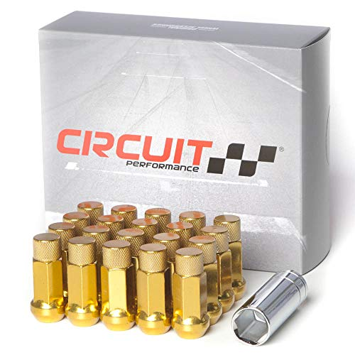 Circuit Performance Forged Steel Extended Hex Lug Nut for Aftermarket Wheels: 12x1.25 Gold - 20 Piece Set + Tool