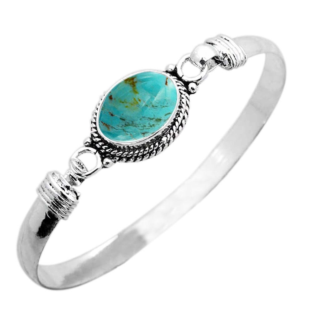 925 Silver Plated 9.10ct, Genuine Turquoise Bangle Made By Sterling Silver Jewelry