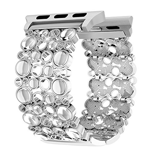 (Compatible for Apple Watch Bands 42mm 44mm Women, Handmade Bling Crystal Stones iWatch Replacement Strap for iWatch Nike+, Series 3, Series 2, Series 1, Sport, Edition (Silver 42mm 44mm))