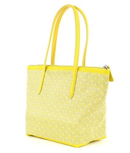 LACOSTE L.12.12 Concept Croc Medium Small Shopping Bag Warm Olive White