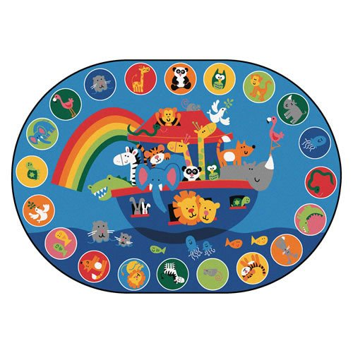 Carpets for Kids 80008 Noah's Voyage Circletime Kid$ Value Plus Rug-8' x 12' Oval 8' x, 8'3'' x 11'8'', Blue by Carpets for Kids