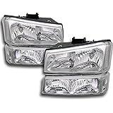 ZMAUTOPARTS Chevy Silverado Crystal Headlights +Bumper Chrome