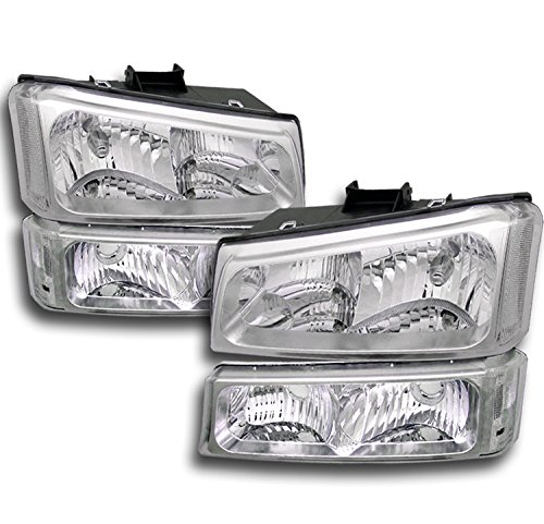 ZMAUTOPARTS Chevy Silverado Crystal Headlights +Bumper Chrome